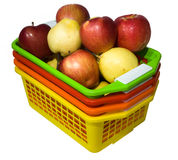 Colour baskets with apples Royalty Free Stock Photo