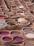 Colour baths, Fez, Morocco. Close-up of the colour baths at the tanneries in Fez in Morocco stock photos
