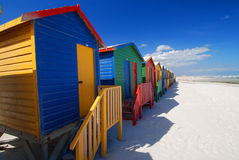 Colour Beach. Brightly coloured bathing boxes at Muizenberg Beach near Cape Town Stock Photography