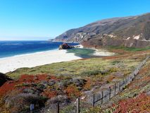 The colour of Big Sur California. The Big Sur in California is an amazing place where sea, hill and flower are mixed togheter resulting in a unique view in the Royalty Free Stock Photos