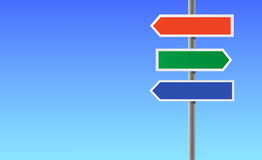 Colour blank directional sign. Royalty Free Stock Image