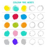 Colour the boxes. Educational game what comes next of Education Counting play for Preschool Children. Vector. Illustration Royalty Free Stock Photography