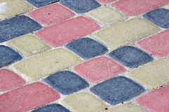 Colour bricks on a path for a background. Royalty Free Stock Image