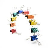Colour Bridge. Ten metal clips to keep some papers on there place Stock Photos