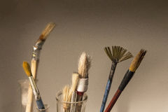 Colour Brushes. With white background Royalty Free Stock Images