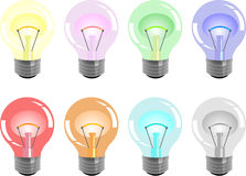 Colour bulbs. Multi-coloured bulbs will decorate any party or a bar Stock Images