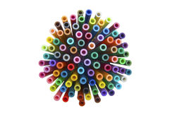 Colour-burst. An explosion of colour made up of coloured pens Royalty Free Stock Photos