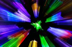 Colour Burst. Coloured lights with zoom burst abstract Stock Photo