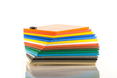 Colour Cards. Stack of coloured foam board swatch cards Royalty Free Stock Images