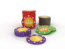 Colour casino chips isolated Royalty Free Stock Image