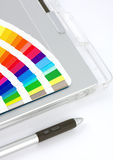 Colour Chart, Graphics Tablet And Pen Royalty Free Stock Photography