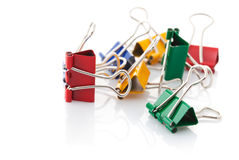Colour clamps. On white background Royalty Free Stock Images