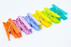 Colour clothes peg. Home equipment. Plastic. royalty free stock photo
