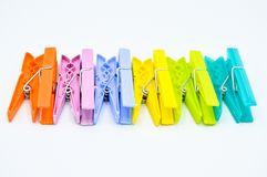 Colour clothes peg. Home equipment. Plastic. royalty free stock photos