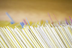 Colour Coded Filing System For Folders. Closeup of colour coded filing system for folders Royalty Free Stock Photos