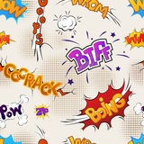 Colour comics effects on old paper, seamless pattern Royalty Free Stock Photo