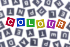 Colour Concept Coloured Word Against Grey Letters Stock Photography