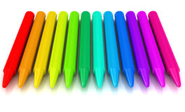 Colour crayons over white background Royalty Free Stock Photography