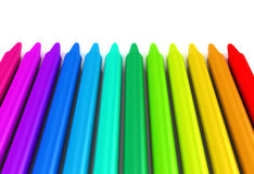 Colour crayons over white background Stock Photography
