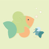 Colour creative fish. Colour creative two fish, monochromatic background with bubbles Stock Photos