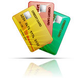 Colour credit cards  on a white background. Vector Royalty Free Stock Photo