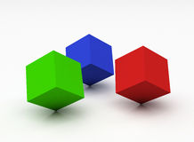 Colour cubes. Over the white Royalty Free Stock Photos