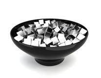 Colour cubes in bowl Royalty Free Stock Photo