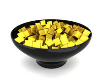 Colour cubes in bowl Royalty Free Stock Image