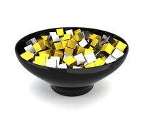 Colour cubes in bowl Royalty Free Stock Images