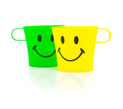 Colour cups with drawing Royalty Free Stock Photo
