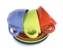 Colour cups and soucers Royalty Free Stock Photography