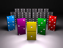 Colour domino. On black background Royalty Free Stock Photo