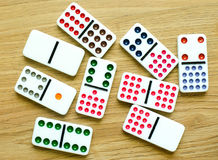 Colour dominoes. Game on background Royalty Free Stock Image