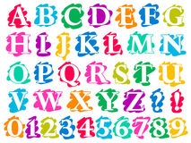 Colour doodle splash alphabet letters and digits. Complete in uppercase with white lettering each on a different single colour splash background, illustration stock illustration