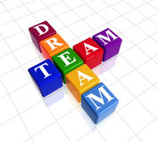 Colour dream team. 3d colour boxes with text - dream team, crossword vector illustration