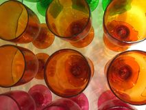 Colour empty  glasses Royalty Free Stock Photography