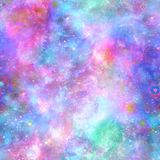 Colour Explosion Galaxy Cosmos Print. In repeat all over print. Fantasy take on space fitting perfectly with unicorn themes royalty free illustration