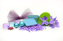 Colour Eyeshadow and flowers Stock Photos