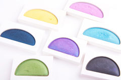 Colour eyeshadows palettes isoalted on white Stock Photos