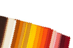 Colour fabric samples. On white background Royalty Free Stock Photos