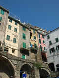 Colour facades of buildings in Riomaggiore Royalty Free Stock Images