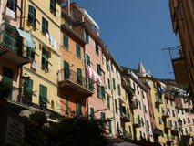 Colour facades of buildings in Riomaggiore Royalty Free Stock Image