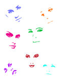 Colour faces. Woman's faces - comic cartoon and  characters Stock Photography