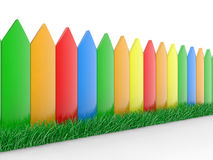 Colour fence and grass Royalty Free Stock Photos