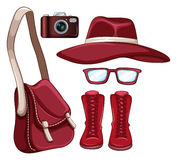 Colour. Flashcard of red colour theme with woman accessories stock illustration