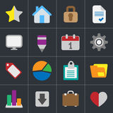 Colour flat icons for business and website design Stock Photos