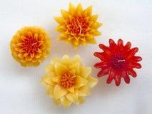 Colour flower candles set Stock Image