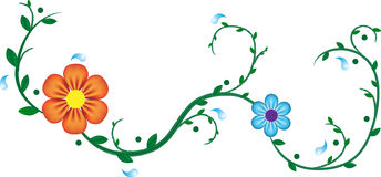 Colour flowers on a branch. Vector illustration Royalty Free Stock Image
