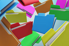 Colour folders. Many colour folders chaotically flying in air Stock Photography
