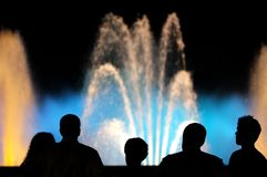 Colour Fountains. Barcelona Fountains in a festivity day celebration Stock Image